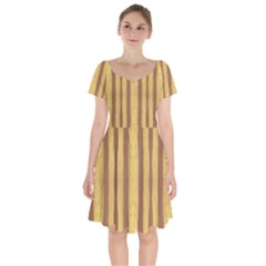 Tarija 016 Brown Yellow Short Sleeve Bardot Dress