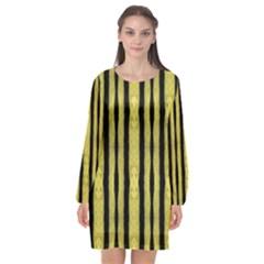 Tarija 016 Black Yellow Long Sleeve Chiffon Shift Dress