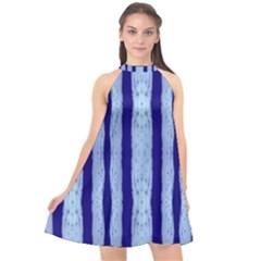 Tarija 016 Light Blue Dark Blue Halter Neckline Chiffon Dress
