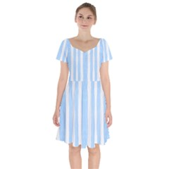 Tarija 016 White Light Blue Short Sleeve Bardot Dress by Mowc