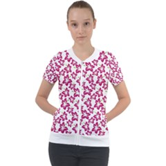Cute Flowers - Peacock Pink White Short Sleeve Zip Up Jacket by FashionLane