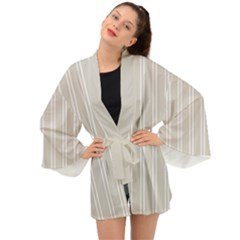Nice Stripes - Abalone Grey Long Sleeve Kimono by FashionLane