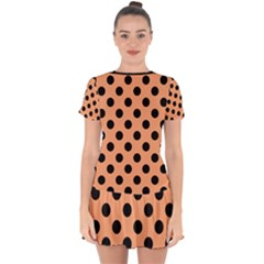Polka Dots - Black On Cantaloupe Orange Drop Hem Mini Chiffon Dress by FashionBoulevard