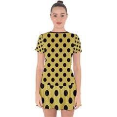 Polka Dots Black On Ceylon Yellow Drop Hem Mini Chiffon Dress by FashionBoulevard
