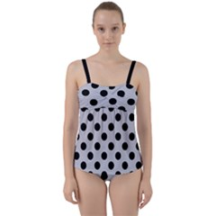 Polka Dots Black On Cloudy Grey Twist Front Tankini Set by FashionBoulevard