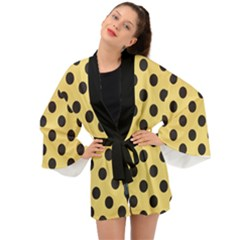 Polka Dots Black On Mellow Yellow Long Sleeve Kimono by FashionLane