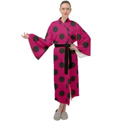 Polka Dots Black On Peacock Pink Maxi Velour Kimono by FashionLane
