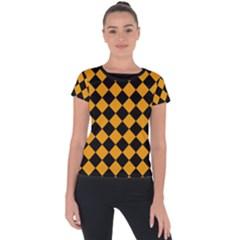 Block Fiesta Black And Honey Orange Short Sleeve Sports Top  by FashionBoulevard