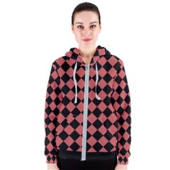 Block Fiesta Black And Indian Red Women s Zipper Hoodie
