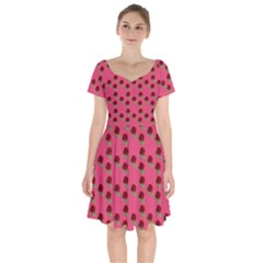 Rose In Mexican Pink Short Sleeve Bardot Dress by snowwhitegirl