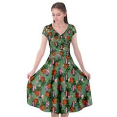 Fiola Pattern Green Cap Sleeve Wrap Front Dress by snowwhitegirl