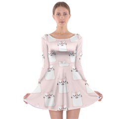 Pattern With Cats Long Sleeve Skater Dress by Sobalvarro
