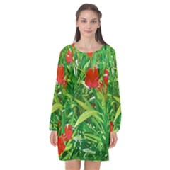 Red Flowers And Green Plants At Outdoor Garden Long Sleeve Chiffon Shift Dress  by dflcprintsclothing
