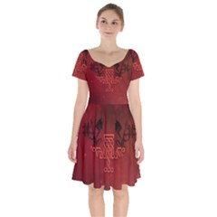 Decorative Celtic Knot With Dragon Short Sleeve Bardot Dress by FantasyWorld7