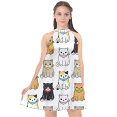 Cat Kitten Seamless Pattern Halter Neckline Chiffon Dress  by Vaneshart
