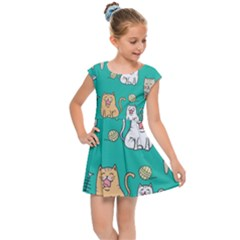 Seamless Pattern Cute Cat Cartoon With Hand Drawn Style Kids  Cap Sleeve Dress by Vaneshart