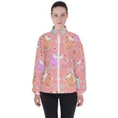 Cute Kawaii Kittens Seamless Pattern Women s High Neck Windbreaker by Vaneshart