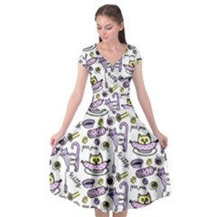 Hand Drawn Cute Cat Pattern Cap Sleeve Wrap Front Dress by Vaneshart