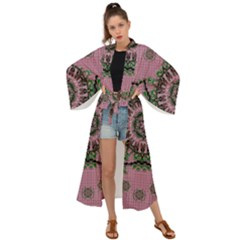 Sakura Wreath And Cherry Blossoms In Harmony Maxi Kimono by pepitasart