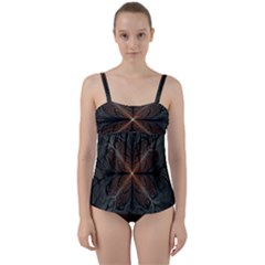 Art Abstract Fractal Pattern Twist Front Tankini Set
