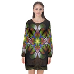 Fractal Flower Fantasy Pattern Long Sleeve Chiffon Shift Dress  by Wegoenart