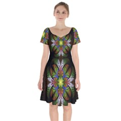 Fractal Flower Fantasy Pattern Short Sleeve Bardot Dress by Wegoenart