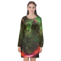 Space Cosmos Galaxy Universe Sky Long Sleeve Chiffon Shift Dress  by Wegoenart