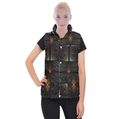 Fractal Artwork Abstract Fantasy Women s Button Up Vest by Wegoenart