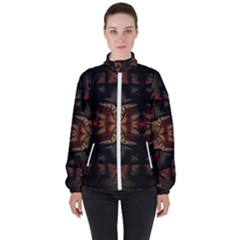 Fractal Fantasy Texture Pattern Women s High Neck Windbreaker by Wegoenart