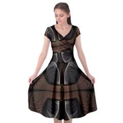 Fractal Abstract Background Pattern Cap Sleeve Wrap Front Dress by Wegoenart