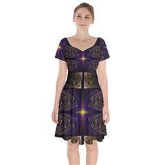 Fractal Fantasy Design Texture Short Sleeve Bardot Dress by Wegoenart