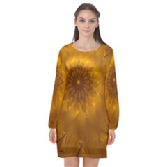 Fractal Flower Floral Gold Pattern Long Sleeve Chiffon Shift Dress  by Wegoenart