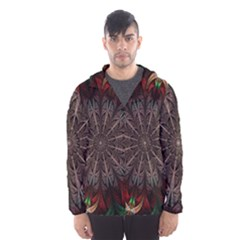 Fractal Flower Fantasy Floral Men s Hooded Windbreaker