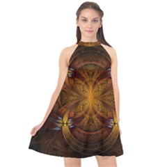 Fractal Art Abstract Pattern Halter Neckline Chiffon Dress  by Wegoenart