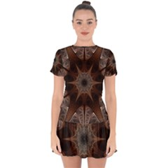 Fractal Abstract Star Pattern Drop Hem Mini Chiffon Dress by Wegoenart