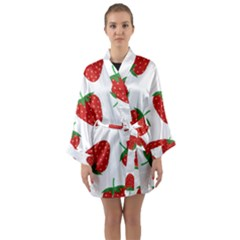 Seamless Pattern Fresh Strawberry Long Sleeve Satin Kimono by Wegoenart
