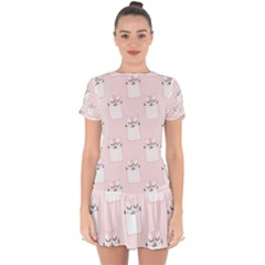 Pattern Pink Cute Sweet Fur Cats Drop Hem Mini Chiffon Dress