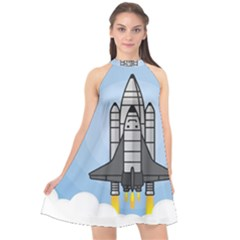 Rocket Shuttle Spaceship Science Halter Neckline Chiffon Dress  by Wegoenart