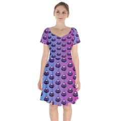 Ufo Alien Pattern Short Sleeve Bardot Dress