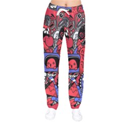 Abstract Grunge Urban Pattern With Monster Character Super Drawing Graffiti Style Vector Illustratio Women Velvet Drawstring Pants by Nexatart