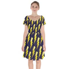 Pop Art Pattern Short Sleeve Bardot Dress by Nexatart