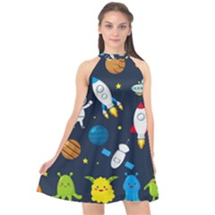 Big Set Cute Astronauts Space Planets Stars Aliens Rockets Ufo Constellations Satellite Moon Rover V Halter Neckline Chiffon Dress  by Nexatart
