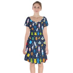 Big Set Cute Astronauts Space Planets Stars Aliens Rockets Ufo Constellations Satellite Moon Rover V Short Sleeve Bardot Dress