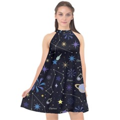 Starry Night  Space Constellations  Stars  Galaxy  Universe Graphic  Illustration Halter Neckline Chiffon Dress  by Nexatart