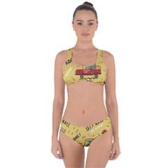 Childish Seamless Pattern With Dino Driver Criss Cross Bikini Set by Vaneshart