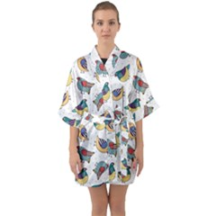 Seamless Pattern With Hand Drawn Bird Black Half Sleeve Satin Kimono