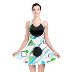 Geometric Shapes Background Reversible Skater Dress