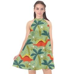 Cute Colorful Dinosaur Seamless Pattern Halter Neckline Chiffon Dress  by Vaneshart