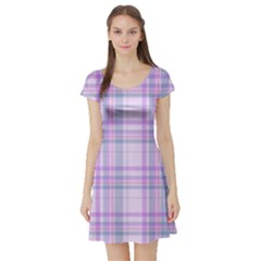 Kariert Muster Stoff Vintage 15805047008f3 Short Sleeve Skater Dress by Sobalvarro