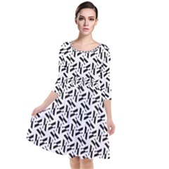 Geometric Pattern 71 Publicdomainvectors Org (1) Quarter Sleeve Waist Band Dress by Sobalvarro